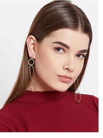 Long Artificial Earrings in Gold Color