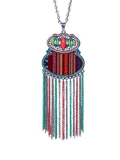 Multicolored Designer Tassel Fashion Necklace