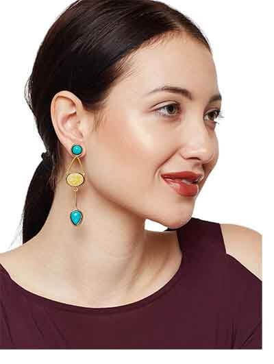 Turquoise Blue & Yellow Designer Earrings For Women