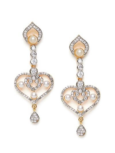 American Diamond Heart Dangle Earrings with Pearls