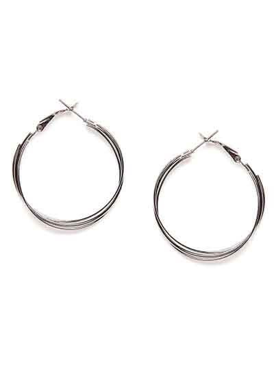 Short Multiple Silver Hoop Earrings