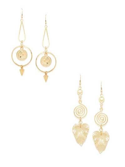 Combo of Golden Leaf and Coin Dangler Earrings