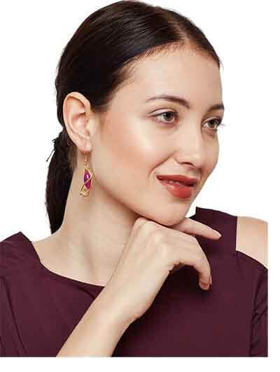 Golden & Pink Western Earrings For Women