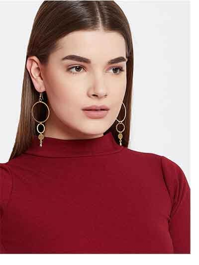 Long Hoop Earrings in Gold Color