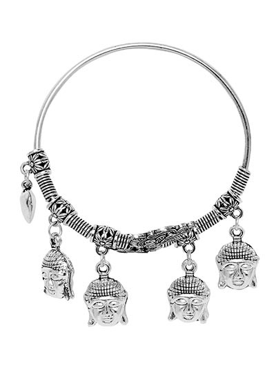 Adjustable Oxidized Silver Bracelet with Buddha Charms