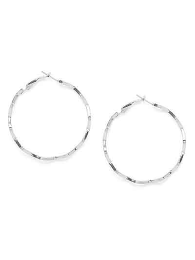 Silver Zig Zag Hoop Earrings