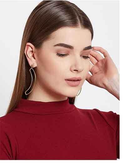 Golden Banana Leaf Artificial Earrings