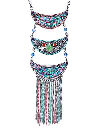 Colorful Multi Layered Collar Tassel Fashion Necklace
