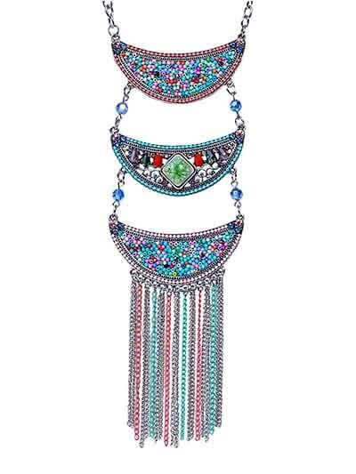 Colorful Multi Layered Collar Tassel Fashion Necklace