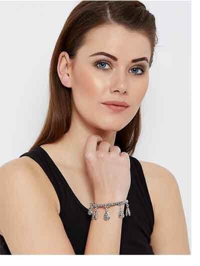 Pine Cone Oxidized Silver Charm Bracelet