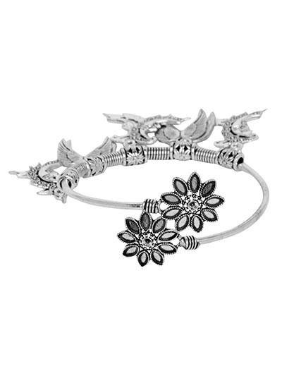 Adjustable Oxidized Silver Bracelet with Wings Charms