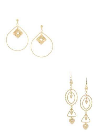 Combo of Oval Golden Earrings and Golden Dangler Earrings