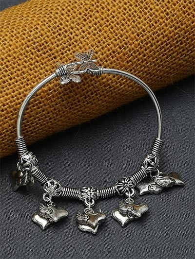 Adjustable Oxidized Silver Bracelet with Cute Heart Charms