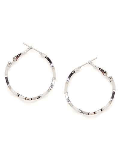 Short Silver Zig-Zag Hoop Earrings