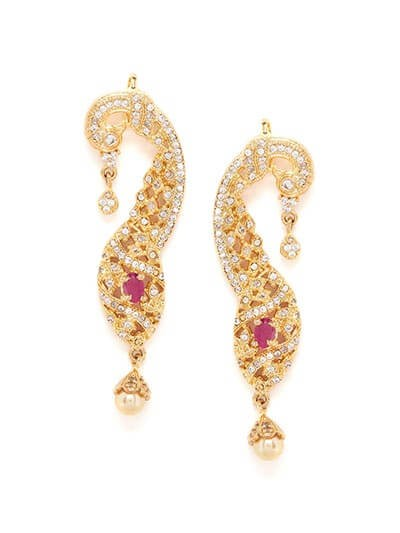 American Diamond Golden Peacock Earcuffs with Red Stone