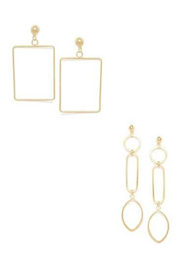 Combo of Golden Square Earrings and Long Golden Dangler Earrings