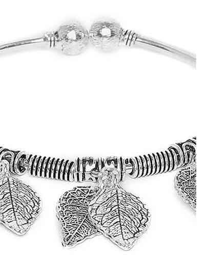 Designer Leaves Oxidized Silver Charm Bracelet
