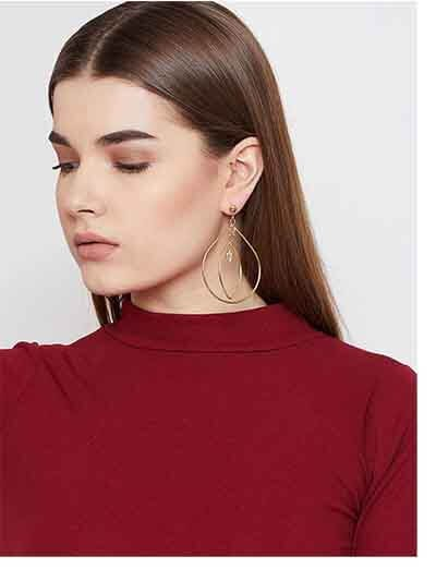 Layered Hoop Earrings in Gold Color