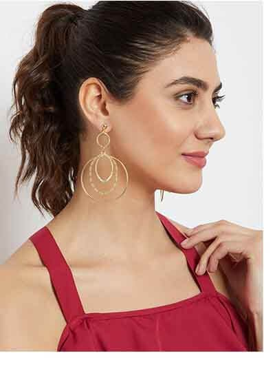 Multi Layered Hoop Earrings in Gold Color