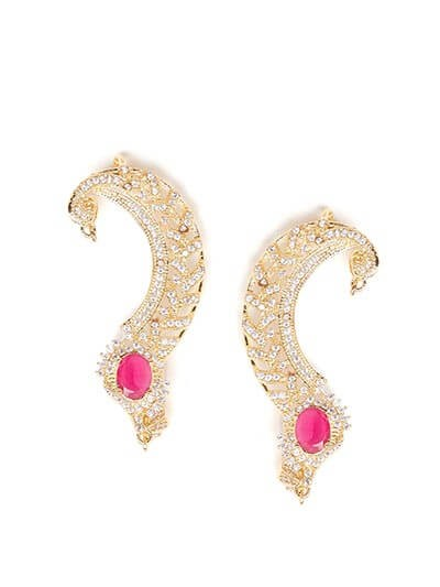 Designer American Diamond Statement Earcuffs with Red Stone