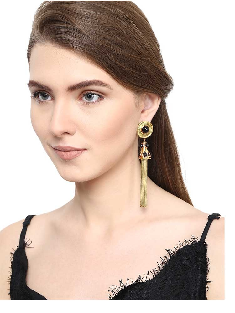 Black Onyx Brass Tassel Drop Earrings