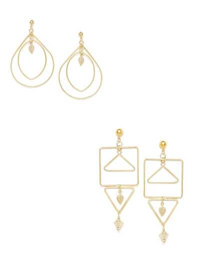 Combo of Layered Golden Danglers and Layered Golden Hoops Earrings