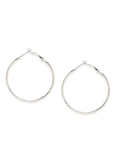 Classic Short Silver Hoop Earrings