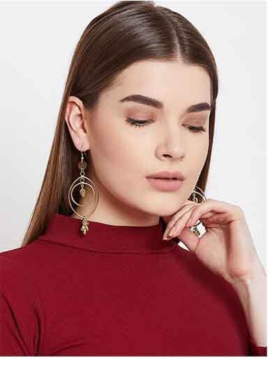 Long Golden Dangle Earrings For Women
