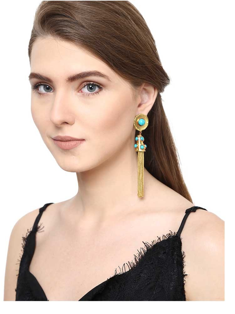 Turquoise Brass Tassel Drop Handmade Jewellery Earrings