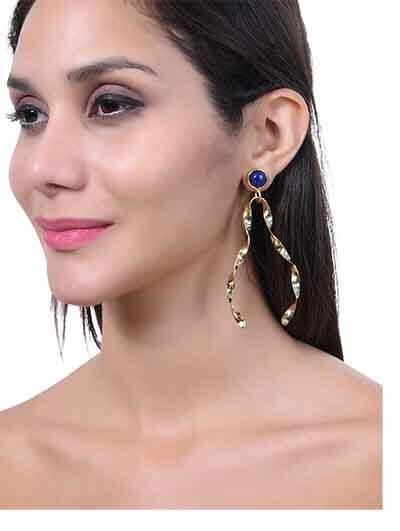 Lapis Lazuli Semi Precious Handmade Jewellery Earrings