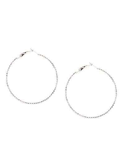 Patterned Silver Hoop Earrings