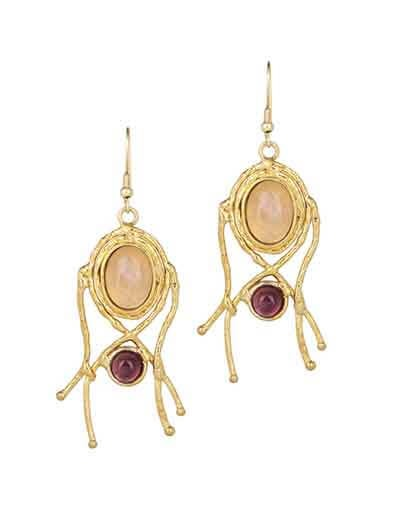 Golden Rose Quartz Amethyst Designer Brass Earrings