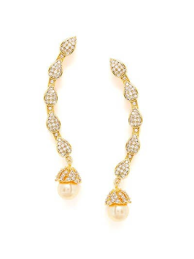 American Diamond Delicate Earcuffs with Pearls