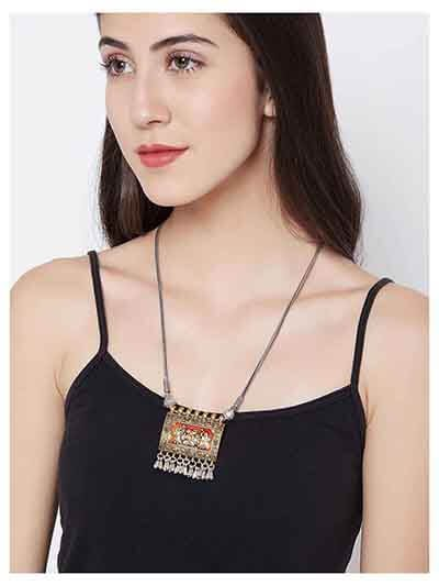 Deity Oxidized Silver Tribal Jewellery Fashion Necklace with Metallic Hangings