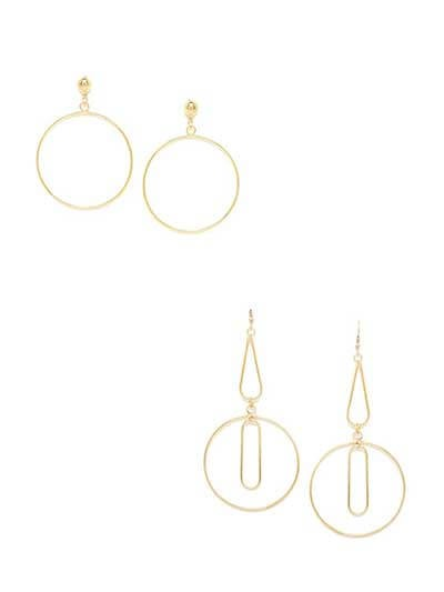 Combo of Golden Single Hoop and Long Golden Dangler Earrings