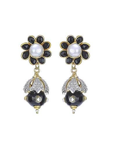 Black Glam Gold Plated Temple Handmade Jewellery Earrings