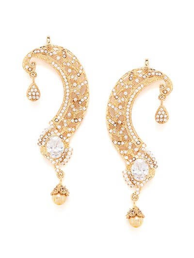 American Diamond Statement Earcuffs with White Crystal Stone