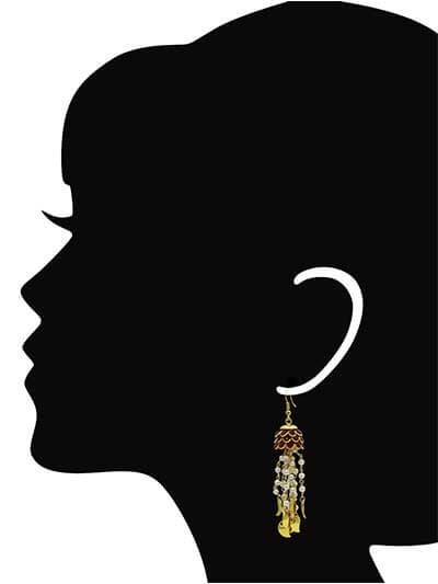 Eloquent Wine Studded Pearl Hanging Brass Plated Party Wear Earrings