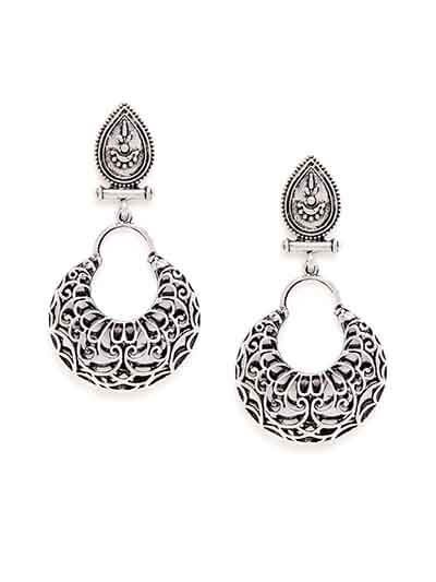 Oxidized Silver Vintage Dangler Earrings