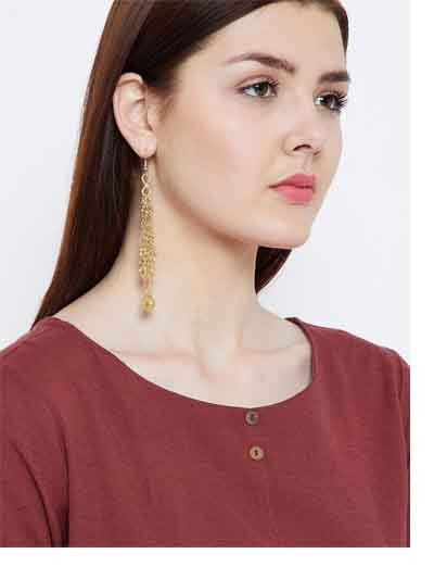 Tangled Golden Chains and Metallic Bells Western Earrings