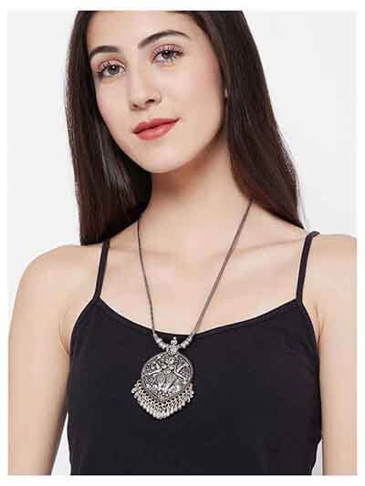 Deity Oxidized Silver Necklace For Women