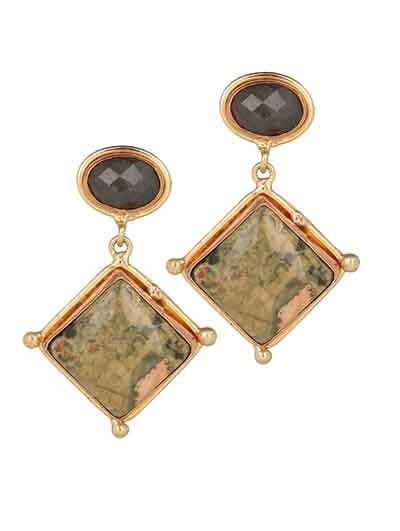 Riolite and Labrodorite Semi Precious Handmade Jewellery Earrings