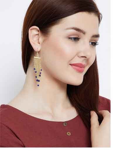 Delicate Chain and Navy Blue Hangings Western Earrings