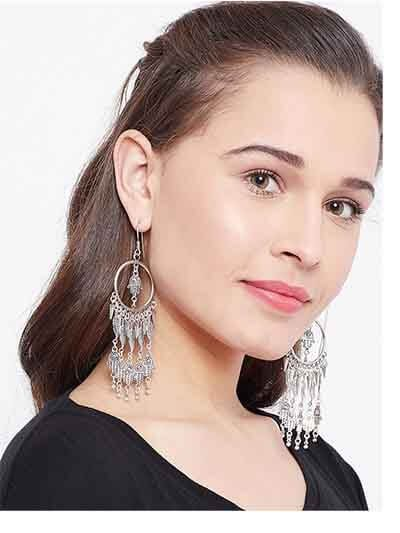 Long Oxidized Silver Earrings For Women With Hangings