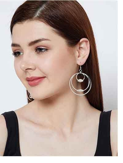 Multiple Silver Plated Delicate Designer Hoops Western Earrings