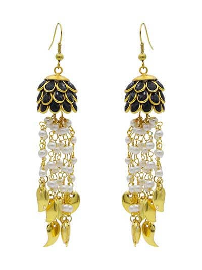 Fire and Ice Black Studded with Pearl Hanging Party Wear earrings