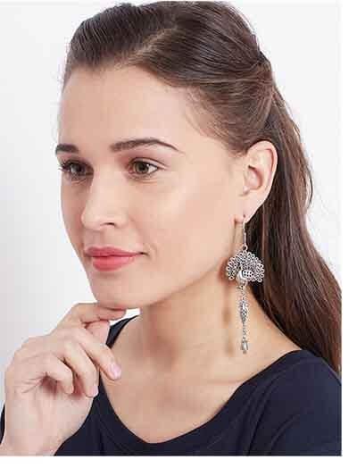 Peacock Oxidized Silver Earrings