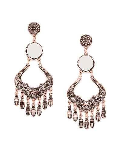 Rose Gold Mirror Chandelier Earrings