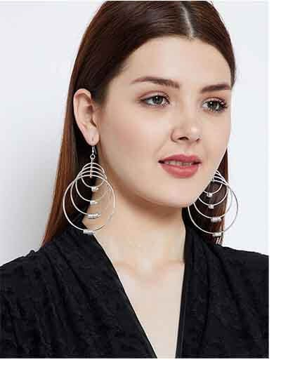 Multi swirled Hoops Silver Plated Designer Western Earrings