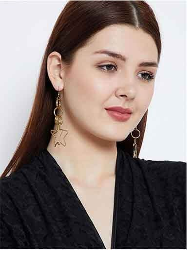 Multiple Layers of Hoops and Stars Gold Plated Designer Western Earrings